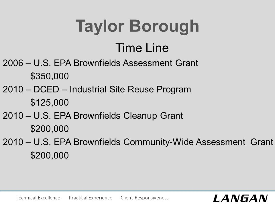 Technical Excellence Practical Experience Client Responsiveness Taylor Borough Time Line 2006 – U.S.