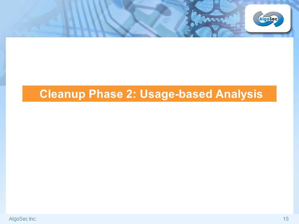 AlgoSec Inc.15 Cleanup Phase 2: Usage-based Analysis