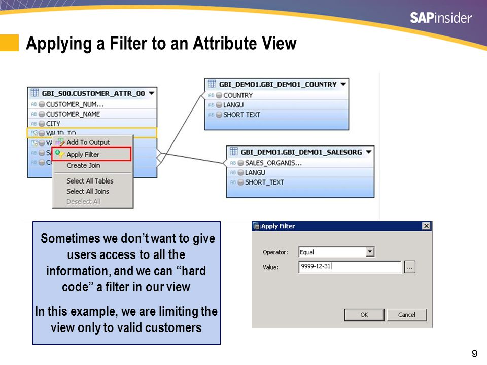 9 Applying a Filter to an Attribute View Sometimes we don't want to give users access to all the information, and we can hard code a filter in our view In this example, we are limiting the view only to valid customers