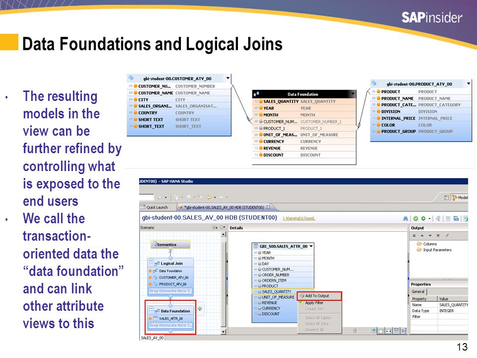 13 Data Foundations and Logical Joins The resulting models in the view can be further refined by controlling what is exposed to the end users We call the transaction- oriented data the data foundation and can link other attribute views to this