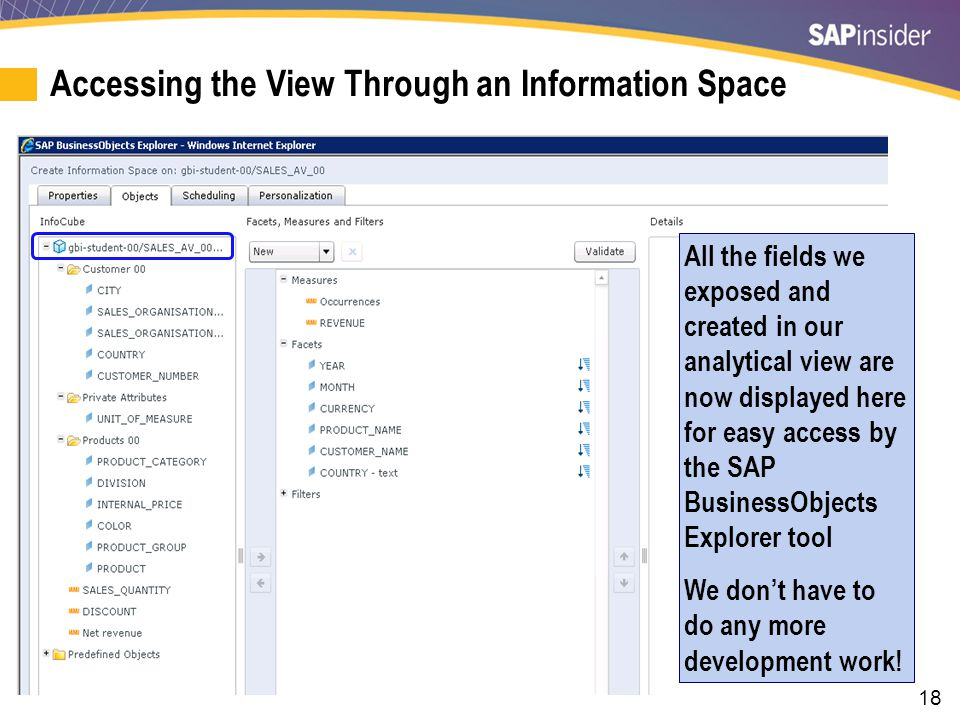 18 Accessing the View Through an Information Space All the fields we exposed and created in our analytical view are now displayed here for easy access by the SAP BusinessObjects Explorer tool We don't have to do any more development work!