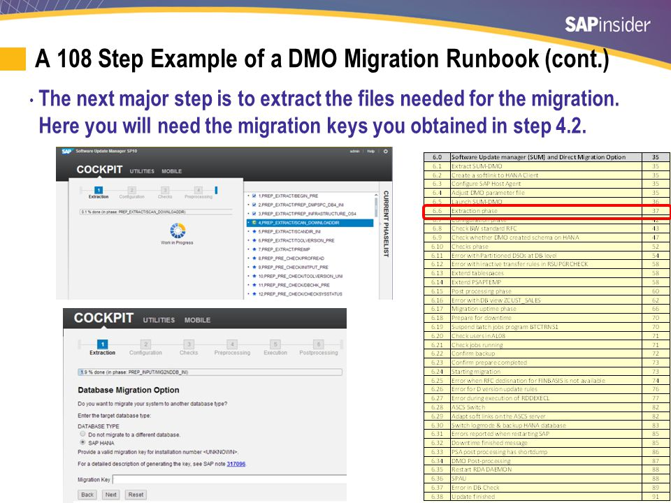 53 A 108 Step Example of a DMO Migration Runbook (cont.) The next major step is to extract the files needed for the migration.