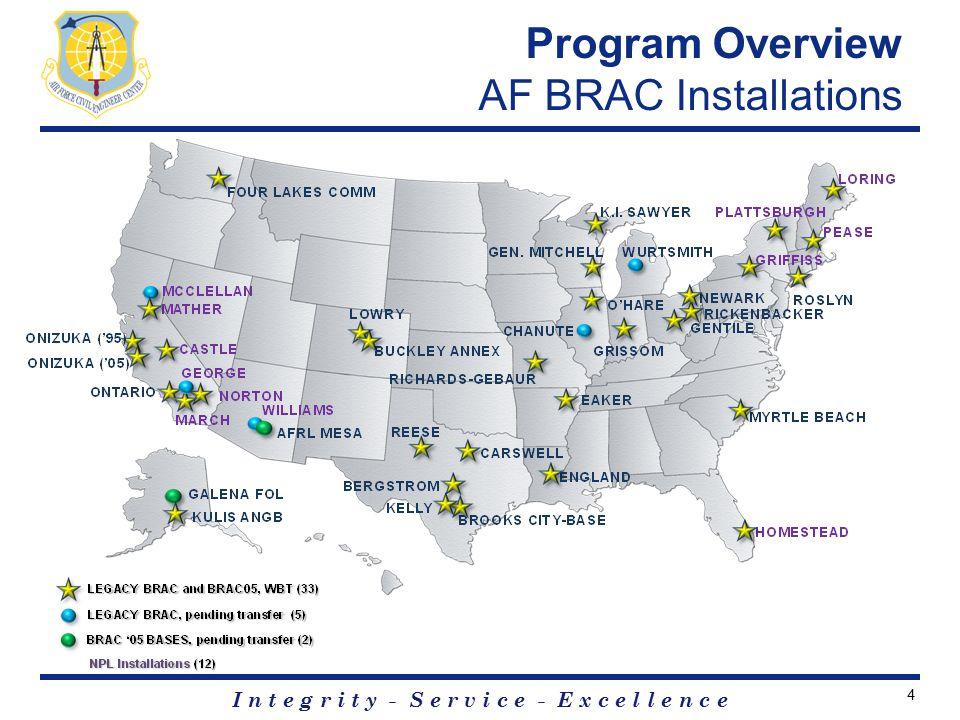 I n t e g r i t y - S e r v i c e - E x c e l l e n c e Program Overview AF BRAC Installations 4