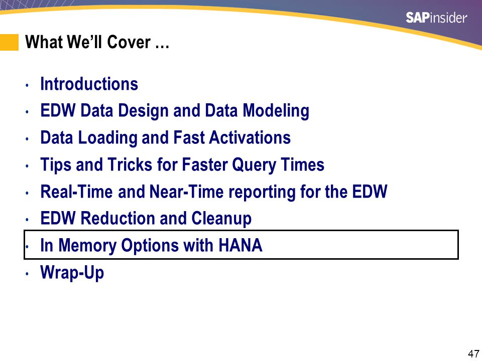47 What We'll Cover … Introductions EDW Data Design and Data Modeling Data Loading and Fast Activations Tips and Tricks for Faster Query Times Real-Ti