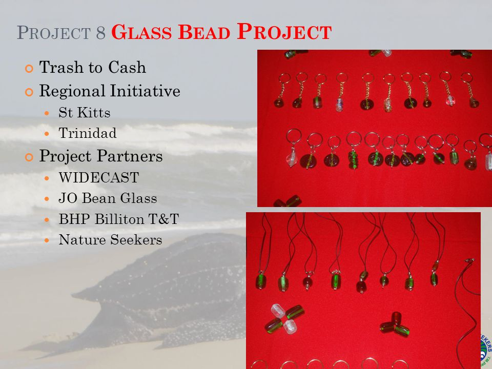 P ROJECT 8 G LASS B EAD P ROJECT Trash to Cash Regional Initiative St Kitts Trinidad Project Partners WIDECAST JO Bean Glass BHP Billiton T&T Nature Seekers