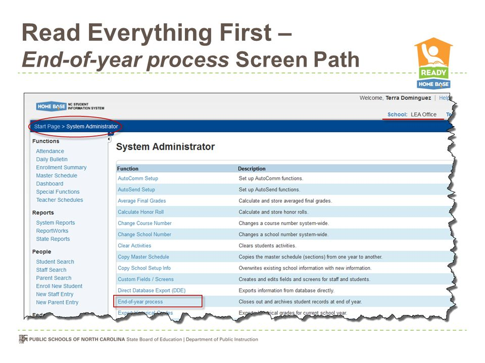Read Everything First – End-of-year process Screen Path