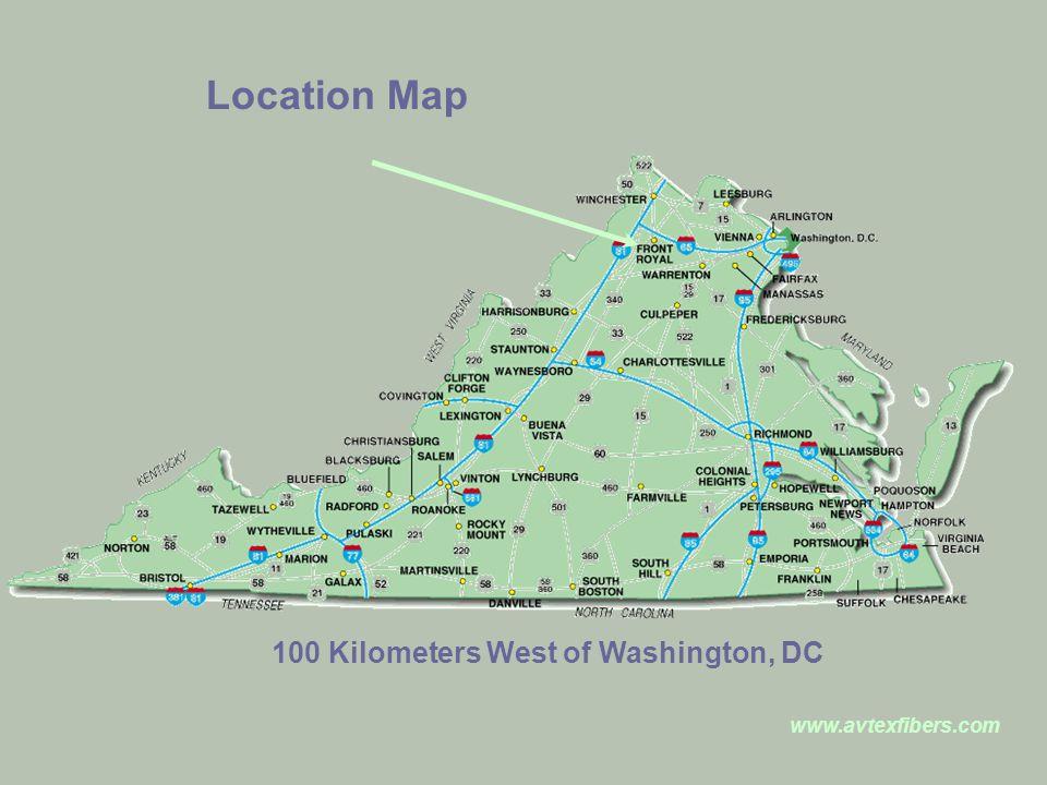 www.avtexfibers.com Location Map 100 Kilometers West of Washington, DC