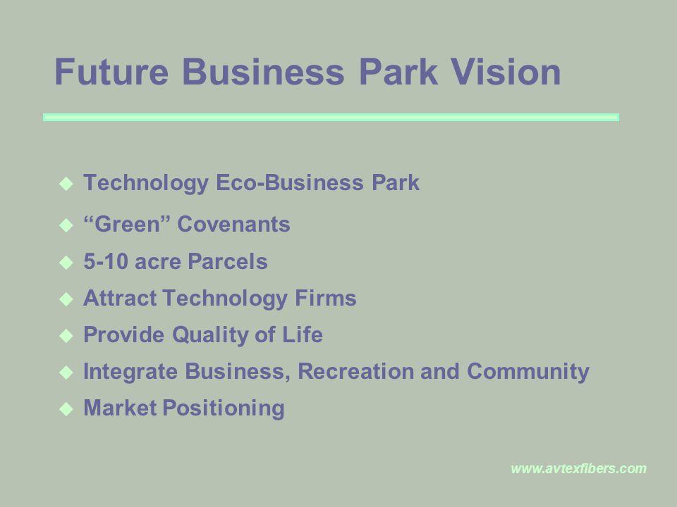 www.avtexfibers.com Future Business Park Vision u Technology Eco-Business Park u Green Covenants u 5-10 acre Parcels u Attract Technology Firms u Provide Quality of Life u Integrate Business, Recreation and Community u Market Positioning