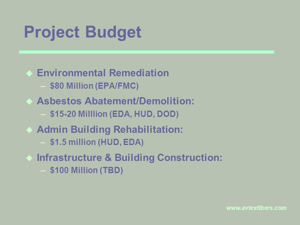 Project Budget u Environmental Remediation –$80 Million (EPA/FMC) u Asbestos Abatement/Demolition: –$15-20 Milllion (EDA, HUD, DOD) u Admin Building Rehabilitation: –$1.5 million (HUD, EDA) u Infrastructure & Building Construction: –$100 Million (TBD)