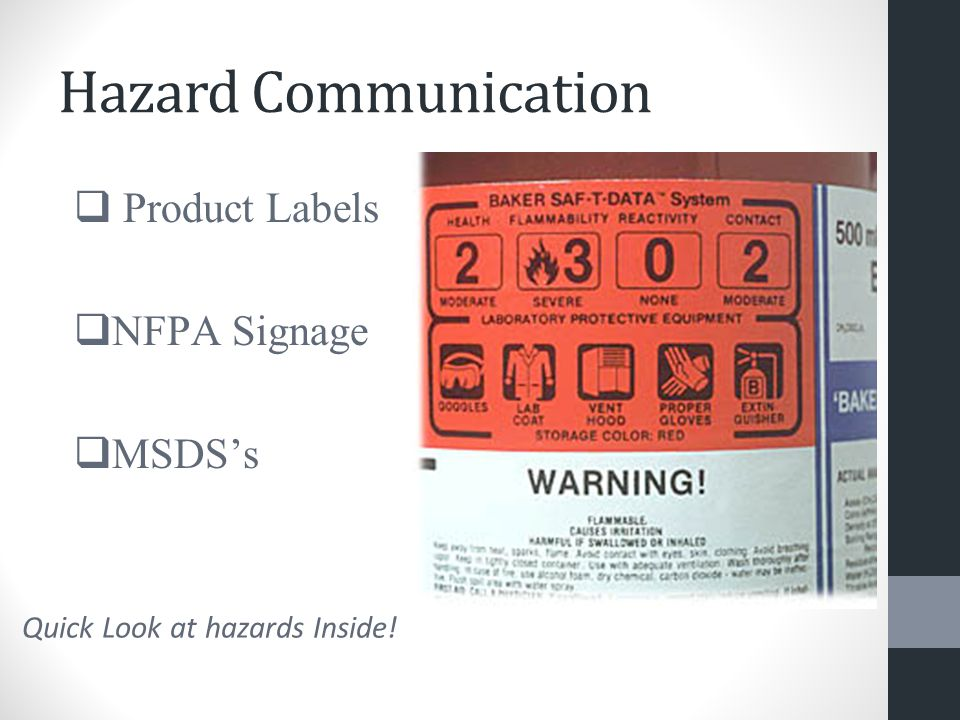 Hazard Communication  Product Labels  NFPA Signage  MSDS's Quick Look at hazards Inside!