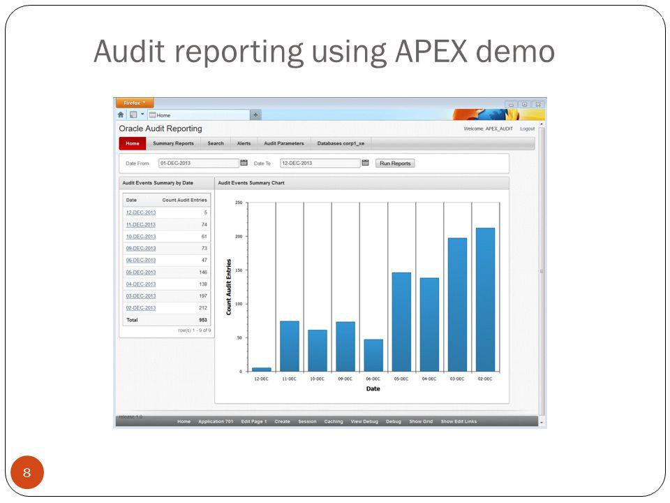 Audit reporting using APEX demo 8