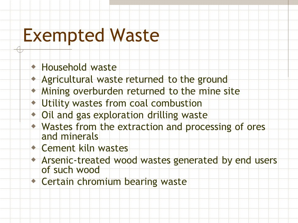 Exempted Waste  Household waste  Agricultural waste returned to the ground  Mining overburden returned to the mine site  Utility wastes from coal