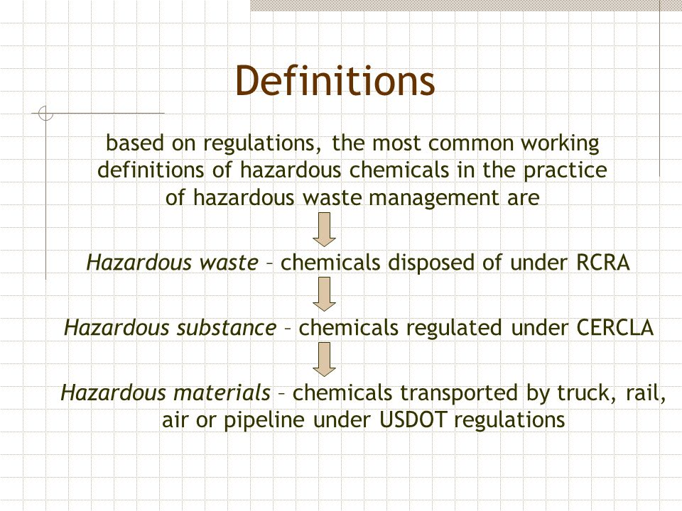 Definitions based on regulations, the most common working definitions of hazardous chemicals in the practice of hazardous waste management are Hazardo