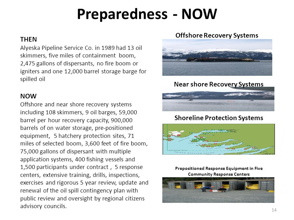 Preparedness - NOW Offshore Recovery Systems Near shore Recovery Systems 14 THEN Alyeska Pipeline Service Co.