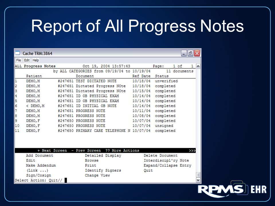 Report of All Progress Notes