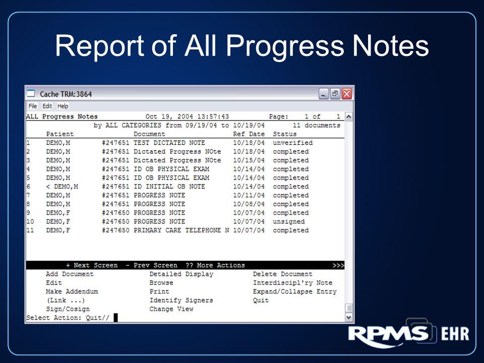 Report of All Progress Notes