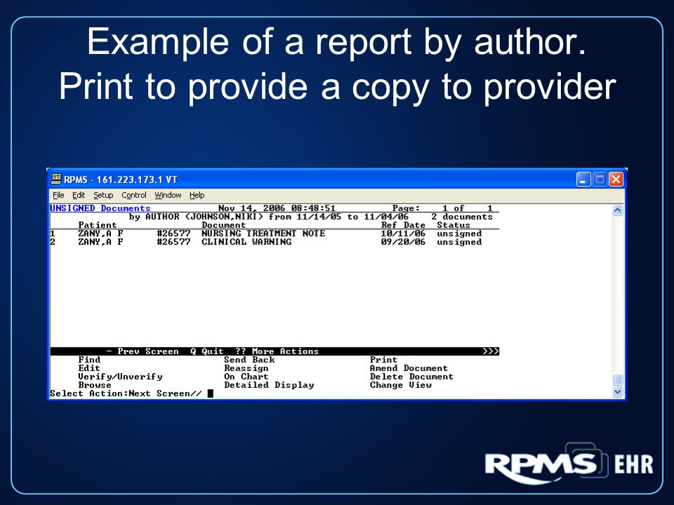 Example of a report by author. Print to provide a copy to provider