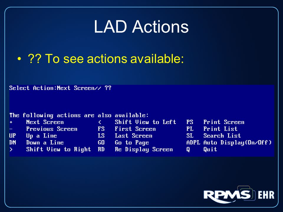 LAD Actions ?? To see actions available: