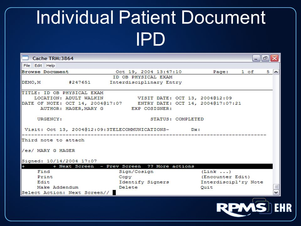 Individual Patient Document IPD