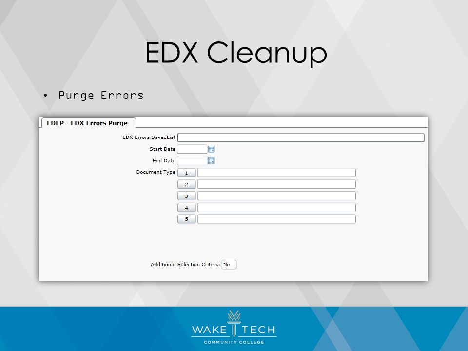 EDX Cleanup Purge Errors