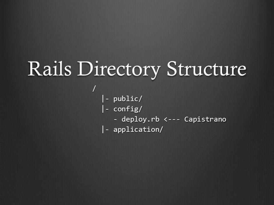 Rails Directory Structure / |- public/ |- public/ |- config/ |- config/ - deploy.rb <--- Capistrano - deploy.rb <--- Capistrano |- application/ |- application/