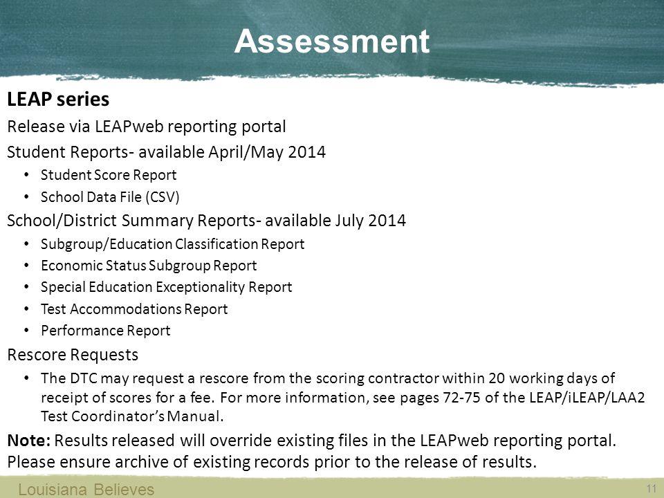 11 LEAP series Release via LEAPweb reporting portal Student Reports- available April/May 2014 Student Score Report School Data File (CSV) School/Distr