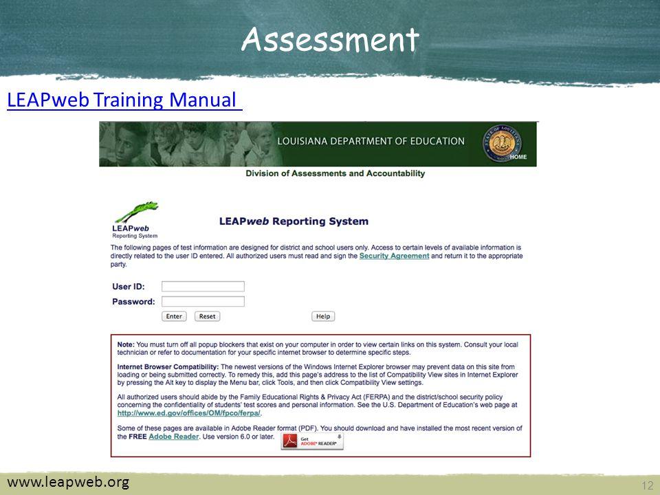 12 Assessment www.leapweb.org LEAPweb Training Manual