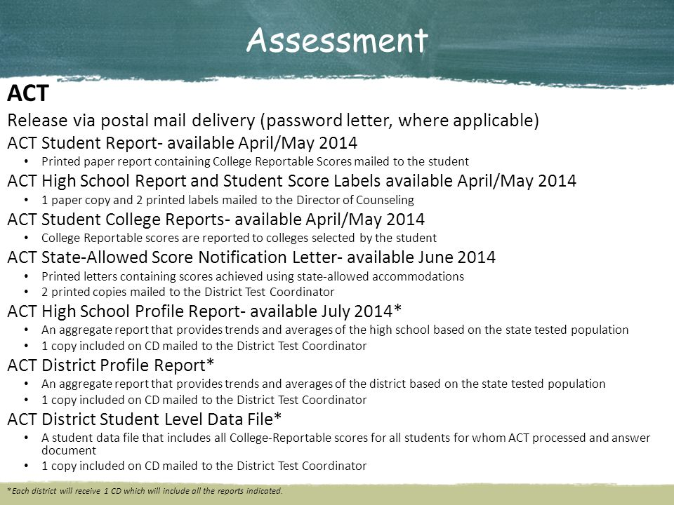 Assessment ACT Release via postal mail delivery (password letter, where applicable) ACT Student Report- available April/May 2014 Printed paper report