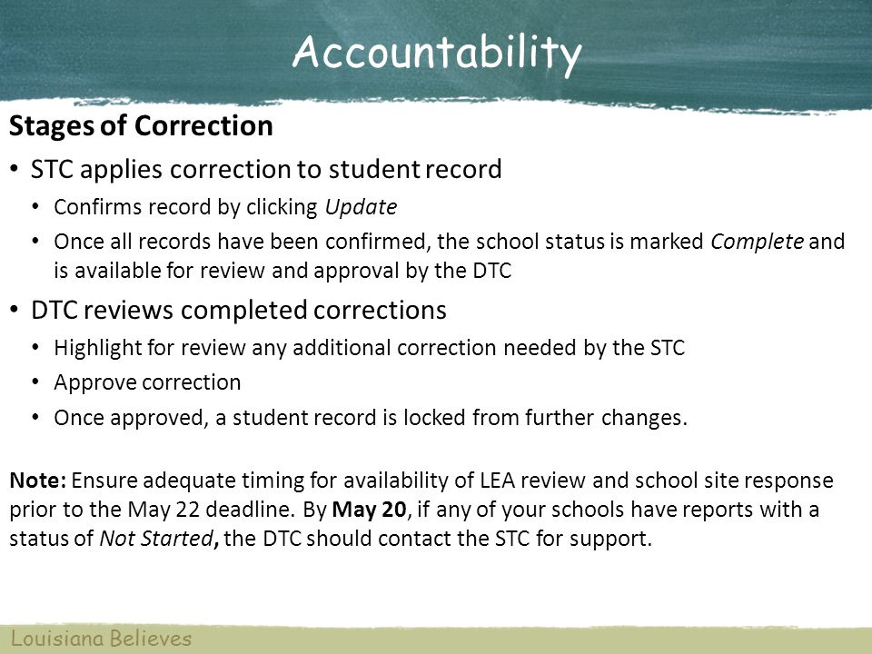Accountability Stages of Correction STC applies correction to student record Confirms record by clicking Update Once all records have been confirmed,