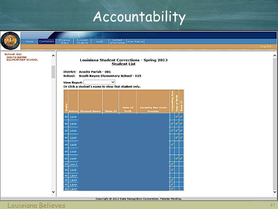 41 Louisiana Believes Accountability