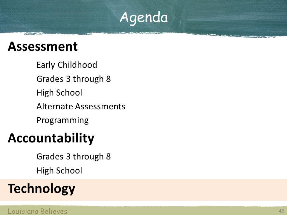 46 Louisiana Believes Assessment Early Childhood Grades 3 through 8 High School Alternate Assessments Programming Accountability Grades 3 through 8 Hi