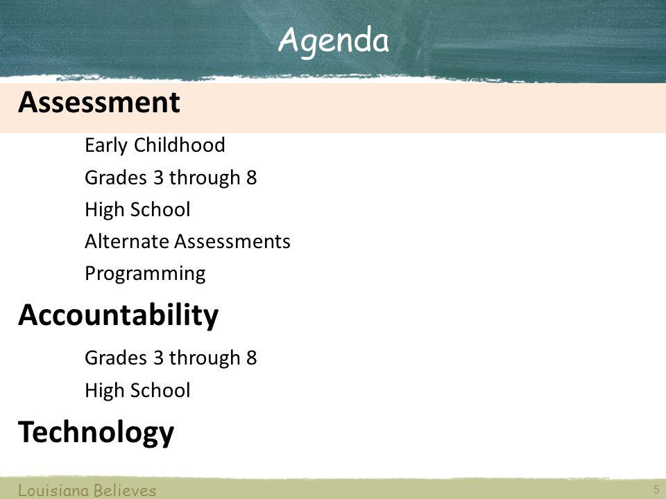 5 Louisiana Believes Assessment Early Childhood Grades 3 through 8 High School Alternate Assessments Programming Accountability Grades 3 through 8 Hig