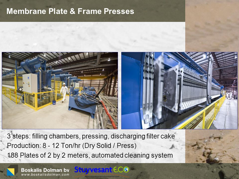 Membrane Plate & Frame Presses 3 steps: filling chambers, pressing, discharging filter cake Production: 8 - 12 Ton/hr (Dry Solid / Press) 188 Plates of 2 by 2 meters, automated cleaning system