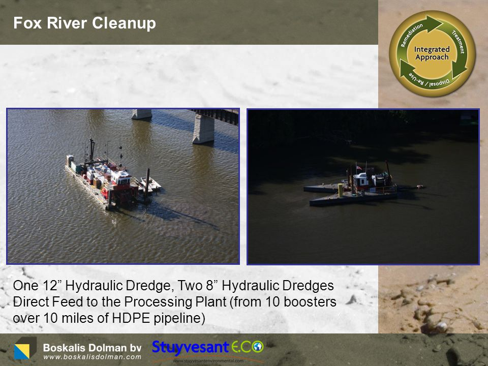 Fox River Cleanup One 12 Hydraulic Dredge, Two 8 Hydraulic Dredges Direct Feed to the Processing Plant (from 10 boosters over 10 miles of HDPE pipeline)