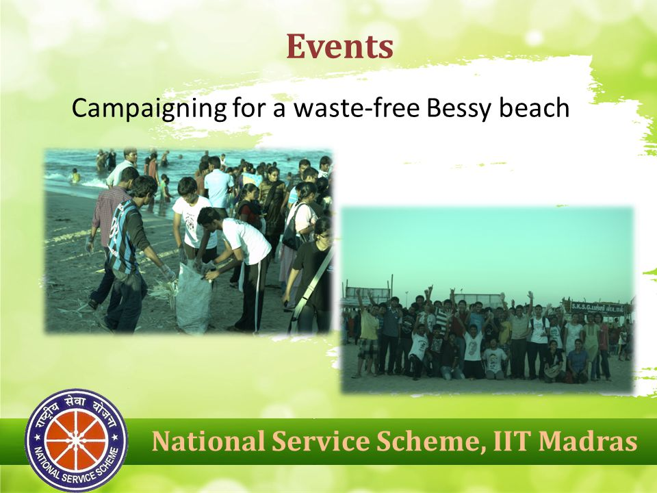 National Service Scheme, IIT Madras Events Campaigning for a waste-free Bessy beach