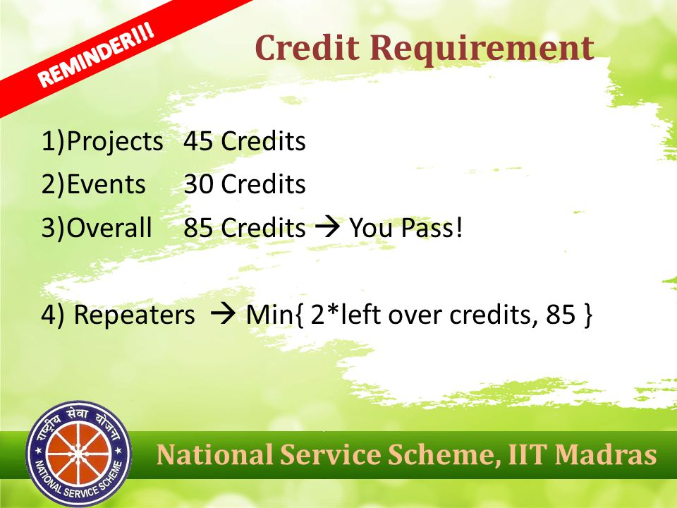 1)Projects 45 Credits 2)Events 30 Credits 3)Overall 85 Credits  You Pass.