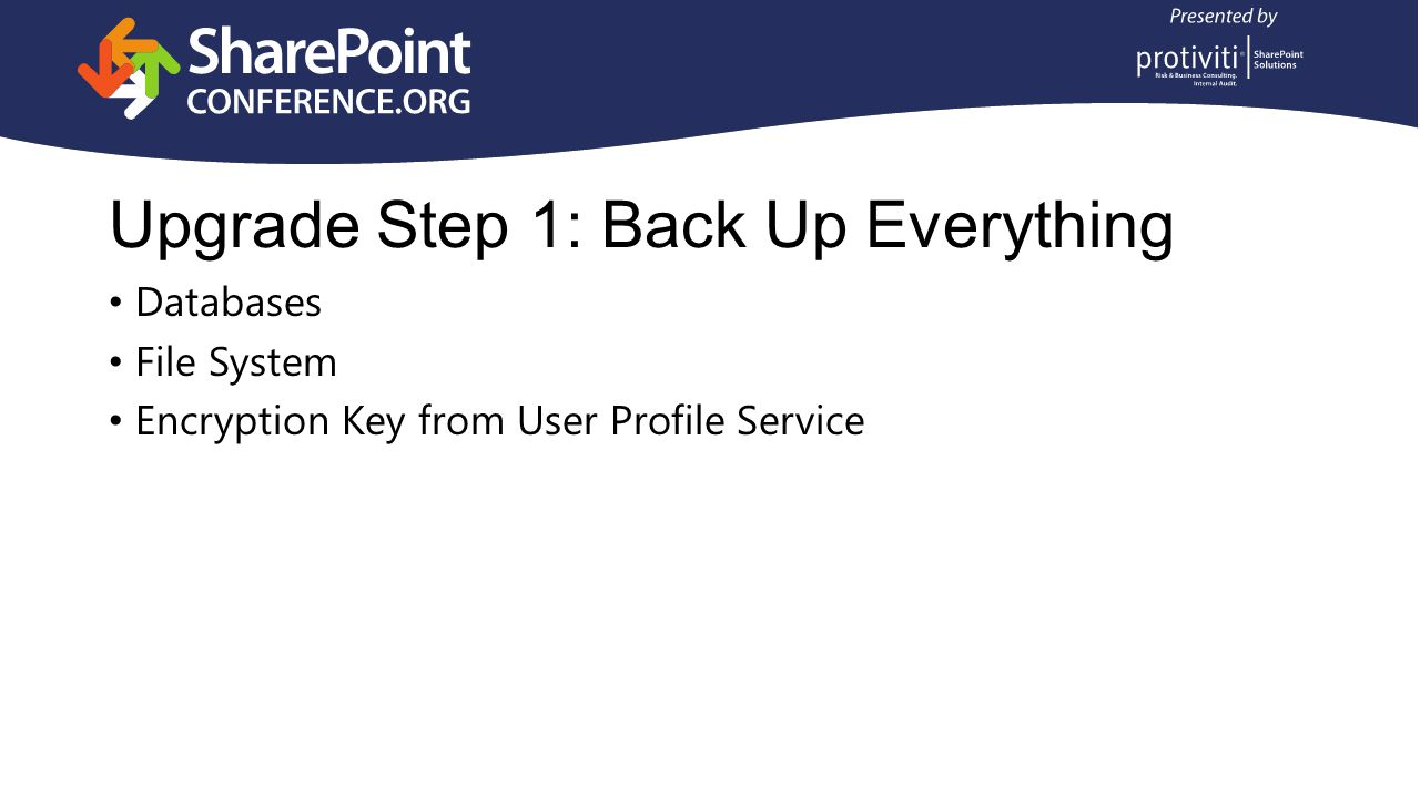 Upgrade Step 1: Back Up Everything Databases File System Encryption Key from User Profile Service