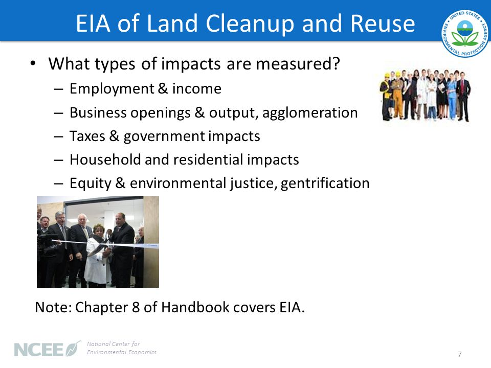 EIA of Land Cleanup and Reuse What types of impacts are measured.