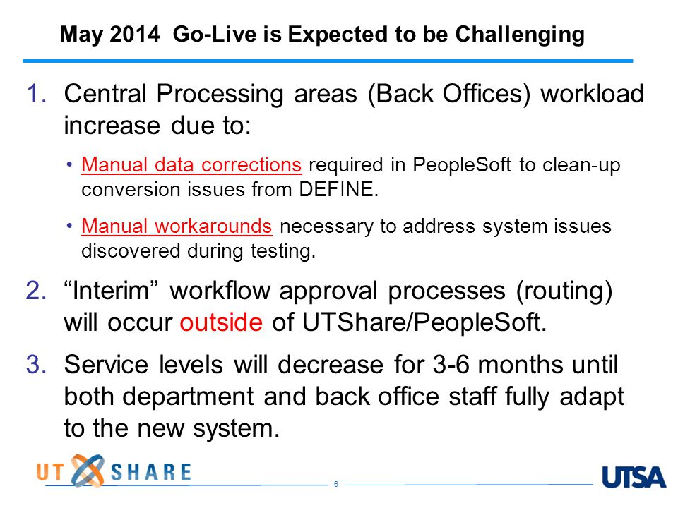 May 2014 Go-Live is Expected to be Challenging 1.Central Processing areas (Back Offices) workload increase due to: Manual data corrections required in PeopleSoft to clean-up conversion issues from DEFINE.