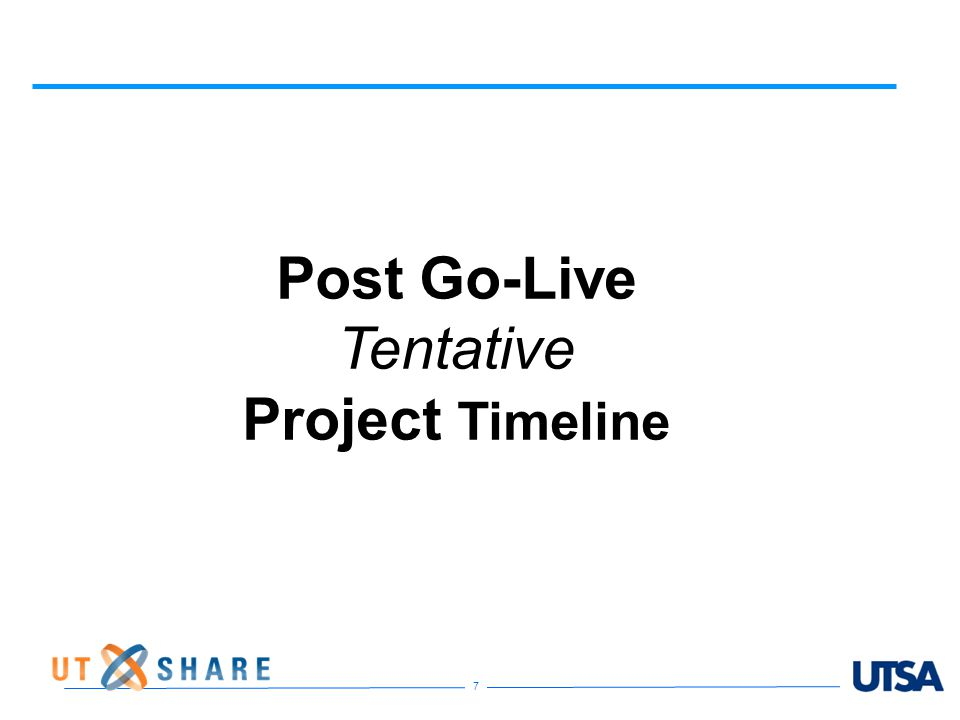 7 Post Go-Live Tentative Project Timeline