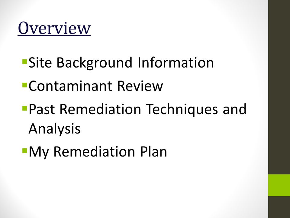 Overview  Site Background Information  Contaminant Review  Past Remediation Techniques and Analysis  My Remediation Plan