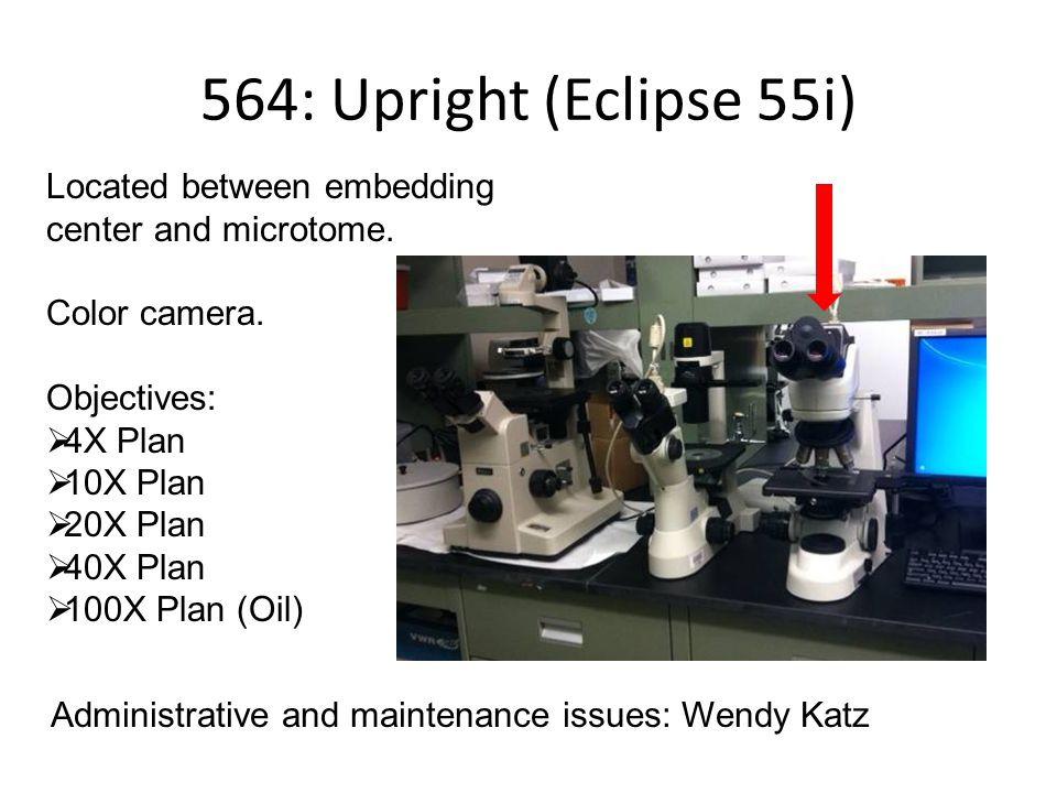 564: Upright (Eclipse 55i) Located between embedding center and microtome.