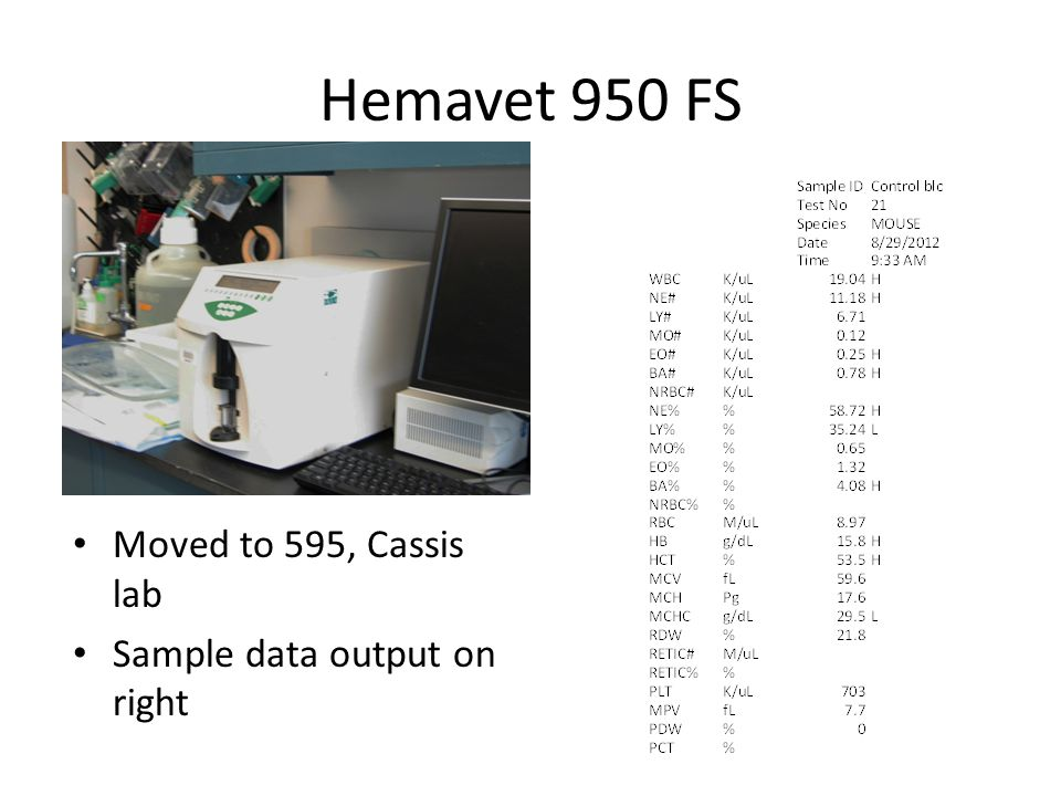 Hemavet 950 FS Moved to 595, Cassis lab Sample data output on right