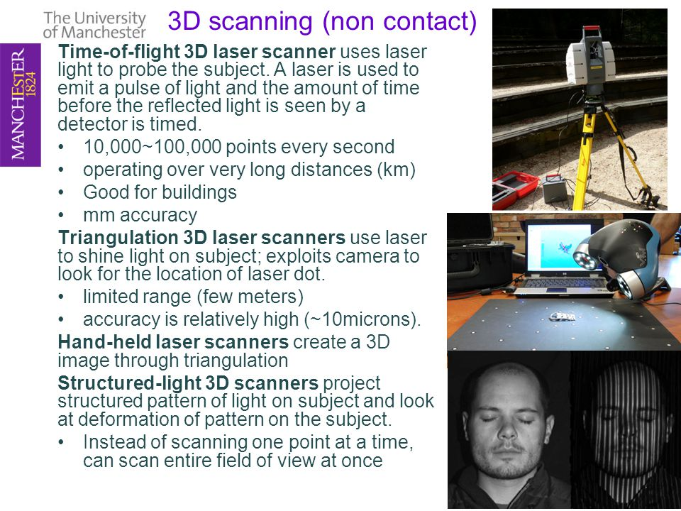 3D scanning (non contact) Time-of-flight 3D laser scanner uses laser light to probe the subject.