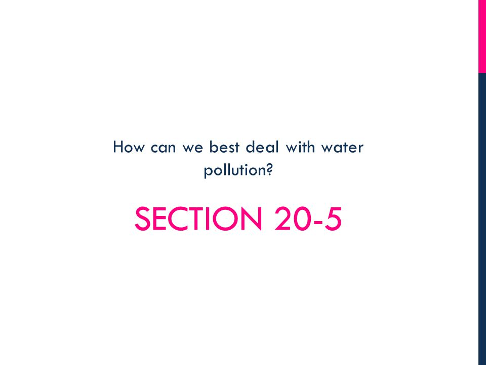SECTION 20-5 How can we best deal with water pollution?