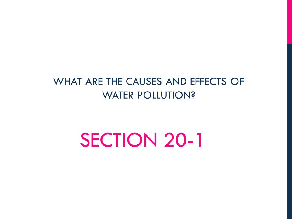 SECTION 20-1 WHAT ARE THE CAUSES AND EFFECTS OF WATER POLLUTION?