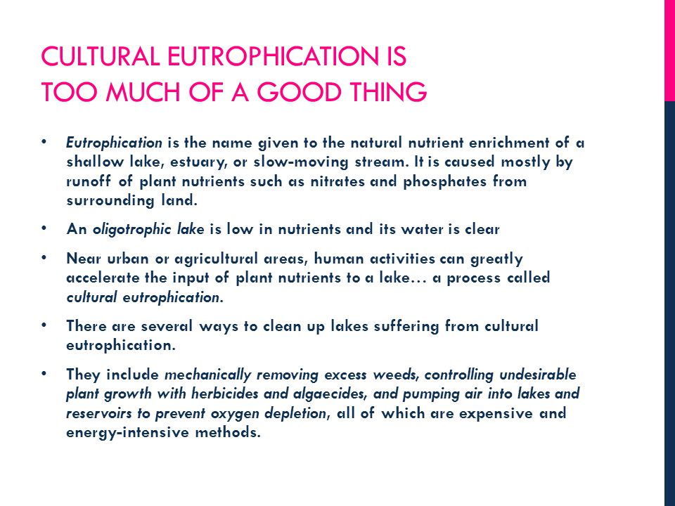 CULTURAL EUTROPHICATION IS TOO MUCH OF A GOOD THING Eutrophication is the name given to the natural nutrient enrichment of a shallow lake, estuary, or