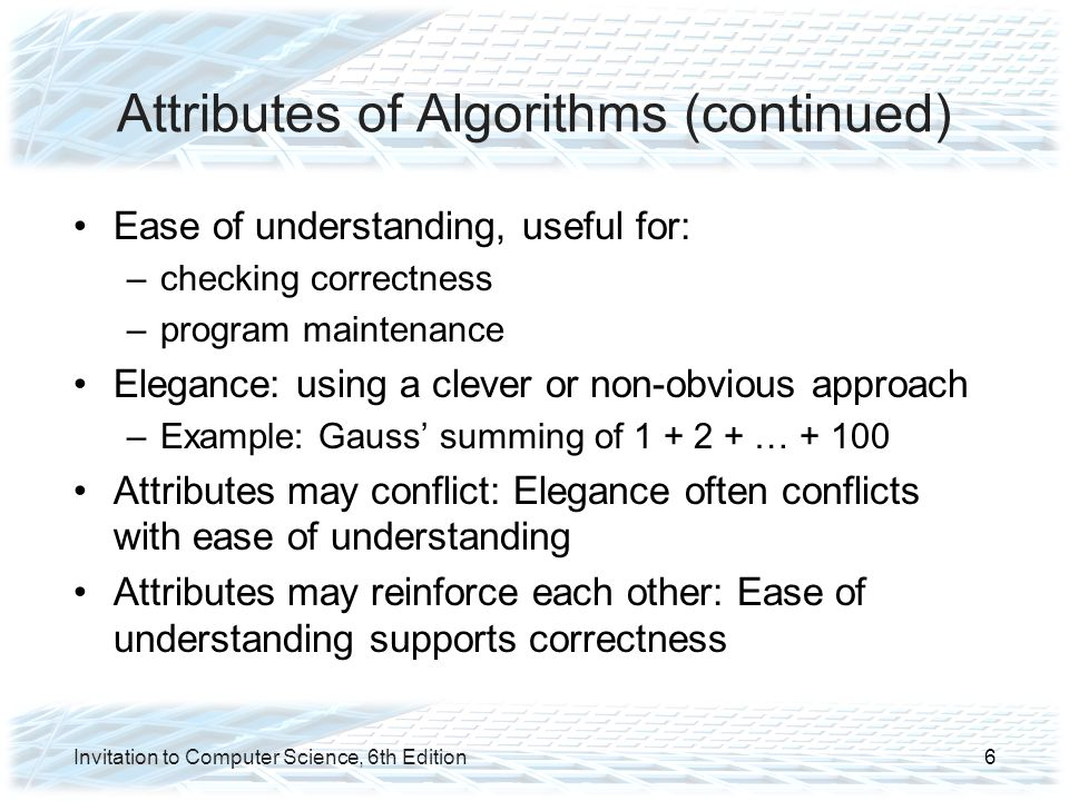 Analysis of Algorithms Binary Search (continued) Central unit of work: comparisons against target Best case efficiency: –Value happens to be the first middle value: 1 comparison Worst case efficiency: –Value does not appear, repeats as many times as we can divide the list before running out of values: Θ(lg n) Invitation to Computer Science, 6th Edition37