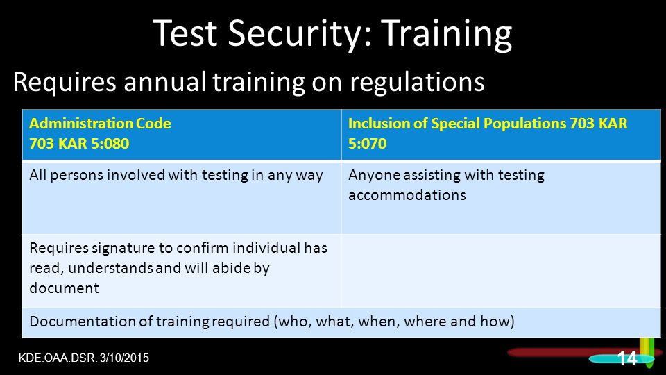 Test Security: Training Requires annual training on regulations  Administration Code  Inclusion Regulation  KDE:OAA:DSR: 3/10/2015 14 Administration Code 703 KAR 5:080 Inclusion of Special Populations 703 KAR 5:070 All persons involved with testing in any wayAnyone assisting with testing accommodations Requires signature to confirm individual has read, understands and will abide by document Documentation of training required (who, what, when, where and how)
