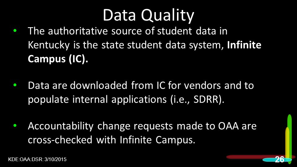Data Quality The authoritative source of student data in Kentucky is the state student data system, Infinite Campus (IC).